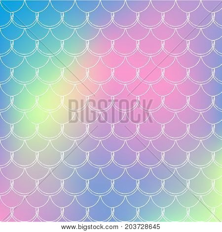 Fish scale on trendy gradient background. Square backdrop with fish scale ornament. Bright color transitions. Mermaid tail banner and invitation. Underwater and sea pattern.Rainbow colors.