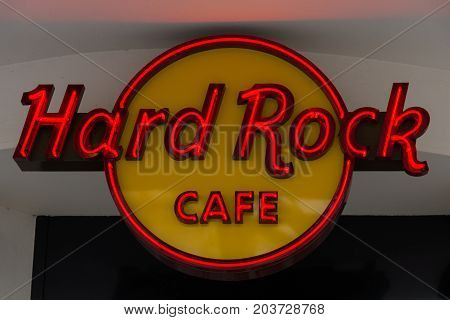 BERLIN - FEBRUARY 22 2015: Hard Rock Cafe. Hard Rock Cafe International Inc. is a chain of theme restaurants there are 191 locations in 59 countries including 145 cafes 21 hotels and 10 casinos.