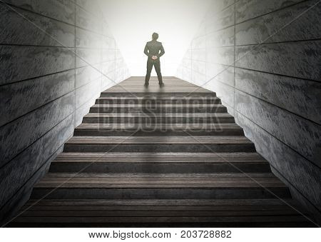 Businessman climbed on top of the stairs Success business and Ambitions concept, 3D illustration