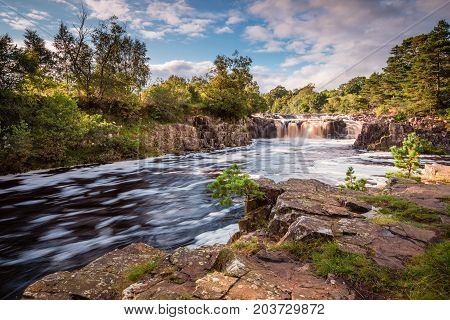 River Tees and Low Force Waterfall, cascades over the Whin Sill with the Pennine Way following the southern riverbank poster