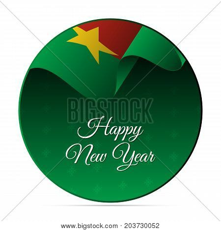 Happy New Year banner or sticker. Burkina Faso waving flag. Snowflakes background. Vector illustration.