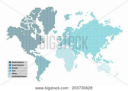 Pixel (Square) shape world map continent in Multicolor on white background vector illustration.