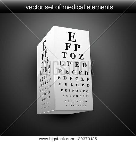 vector eye chart illustration in 3d
