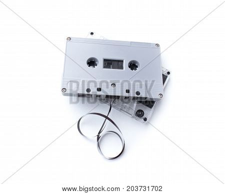 vintage cassette tape isolated on white background