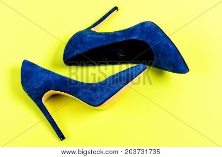 Pair Of Blue Suede High Heel Shoes