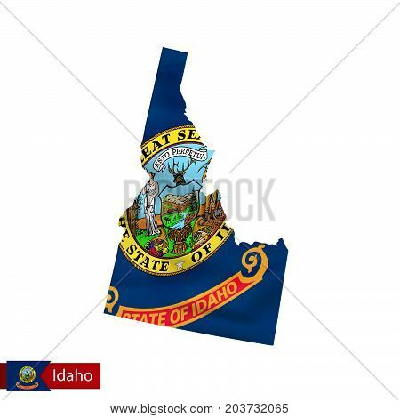 Idaho State Map With Waving Flag Of Us State.