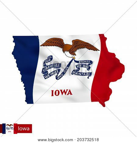 Iowa State Map With Waving Flag Of Us State.