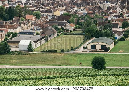 Wine region of Burgundy view of the city of Chablis wine region in central France (northern Burgundy) July 23 2017