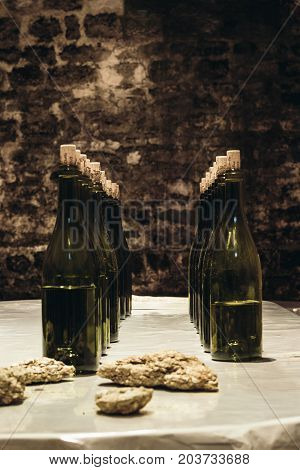 Wine bottles on the table winemaking as a business wine cellar