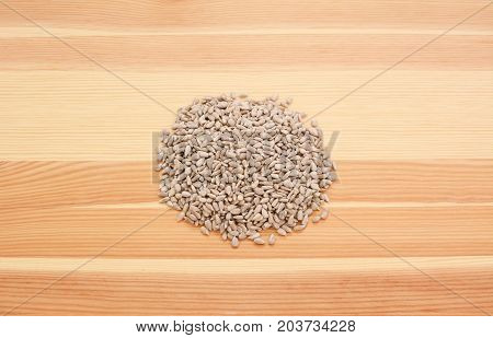 Hulled Sunflower Seed Hearts On Wood