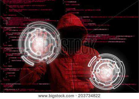 Hooded hacker infiltrating a computer network by touching a screen with white circles on a blurry code background