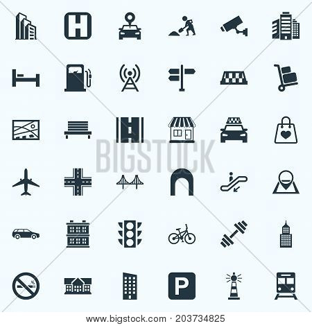 Elements Car, Escalator, Bed And Other Synonyms Institute, Map And Cityscape.  Vector Illustration Set Of Simple Urban Icons.