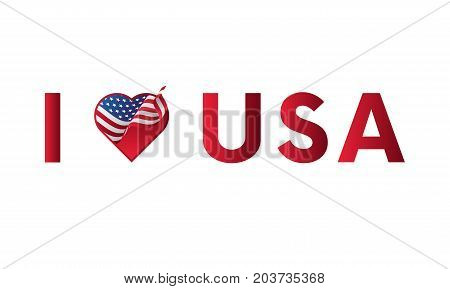 I love USA sticker slogan vector design with heart and waving flag icon.