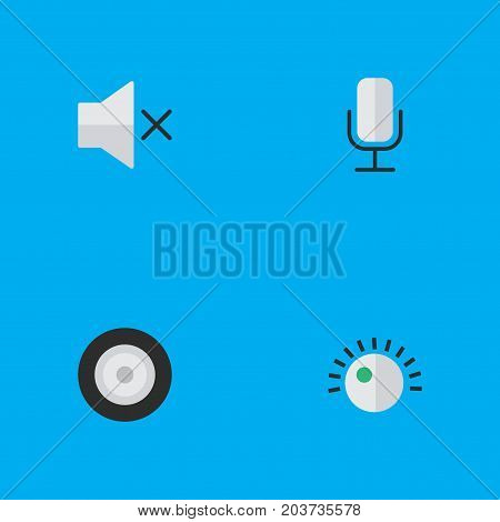Elements Loudspeaker, Regulator, Volume And Other Synonyms Mic, Mute And Regulator.  Vector Illustration Set Of Simple Melody Icons.