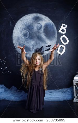 Little Girl Dressed As A Witch Scares