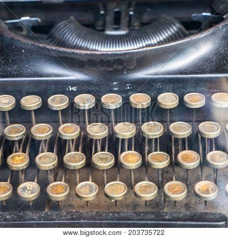 Antique and old typewriter, vintage machine retro style