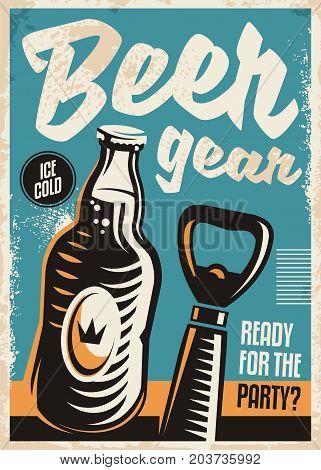 Beer bottle and beer opener retro poster design template. Vintage illustration for alcoholic drinks on blue background.