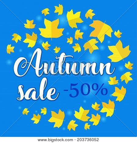 Autumn sale banner with yellow fall tulip tree leaf on blue background. Vector illustration with colorful autumn leaves. Bright banner for autumn sale with colorful fall leaves. Fall discount sale.