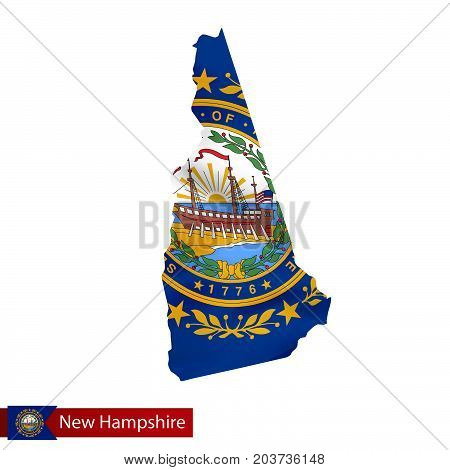 New Hampshire State Map With Waving Flag Of Us State.