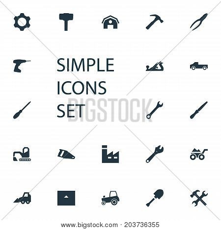 Elements Spanner, Fretsaw, Hammer And Other Synonyms Chisel, Spade And Pickup.  Vector Illustration Set Of Simple Industrial Icons.