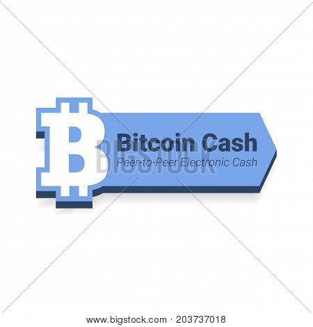 Bitcoin Cash Flat Icon With Title Isolated On White Background.