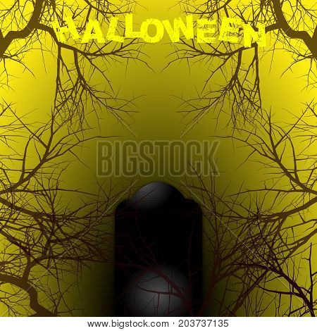 Halloween Yellow and Black Background Copy Space with Branches Tombstone and Decorative Text