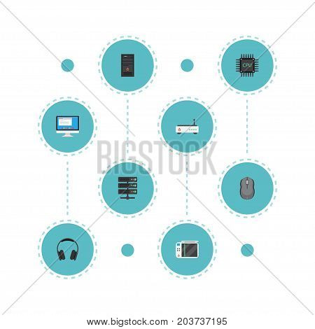 Flat Icons Datacenter, Computer Mouse, Router And Other Vector Elements