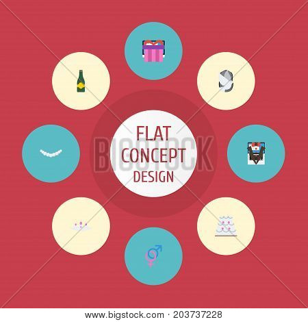 Flat Icons Present, Sexuality Symbol, Pigeon And Other Vector Elements