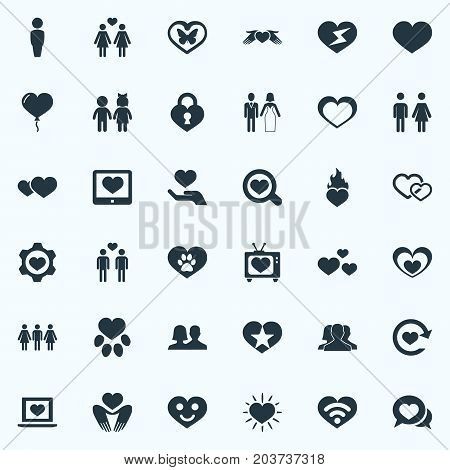 Elements Lesbian, Marriage, Decoration And Other Synonyms Human, Animal And Chatting.  Vector Illustration Set Of Simple Valentine Icons.