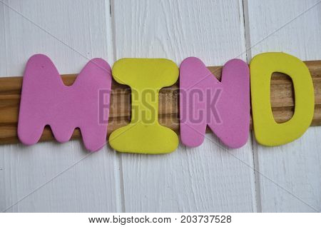 WORD MIND ON A  ABSTRACT WHITE BACKGROUND