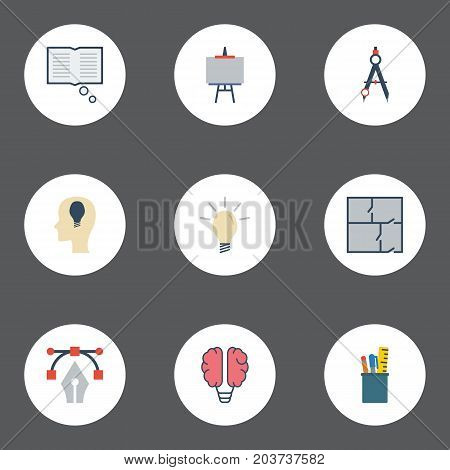 Flat Icons Scheme, Case, Compass And Other Vector Elements