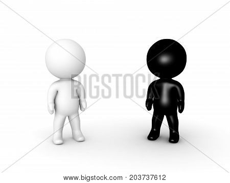 3D illustration of dark black and white small people. Isolated on white.