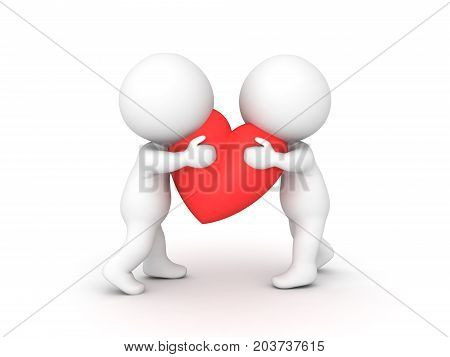 Cute image of 3D Two 3D Character hugging a heart. Image depicting the concept of emotional connection or closeness.