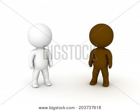 3D illustration of black and white small people. Image depicting a multicultural society.