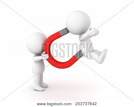 3D Character holding a magnet which captured another character. Isolated on white.