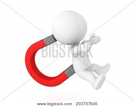 3D Character stuck on giant electro magnet. Isolated on white.
