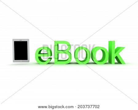 3D illustration of ebook text with graphic tablet next to it. Isolated on white.