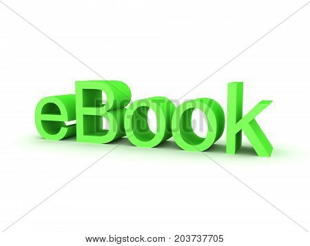 3D illustration of green eBook text. Isolated on white.
