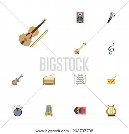 Flat Icons Banjo, Knob, Musical Instrument And Other Vector Elements