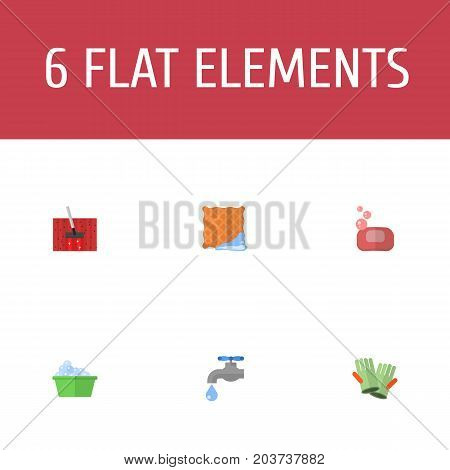 Flat Icons Washcloth, Faucet, Laundry And Other Vector Elements
