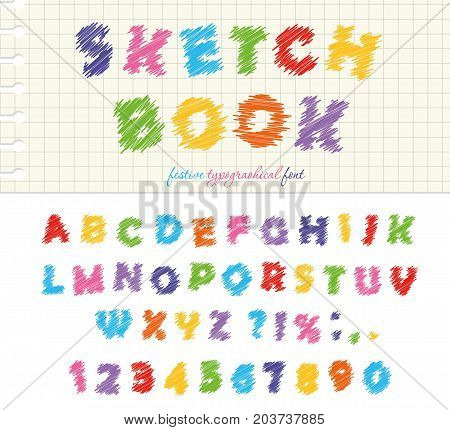 Sketchbook colorful font design. ABC scribble scratchy letters and numbers isolated on white. Vector