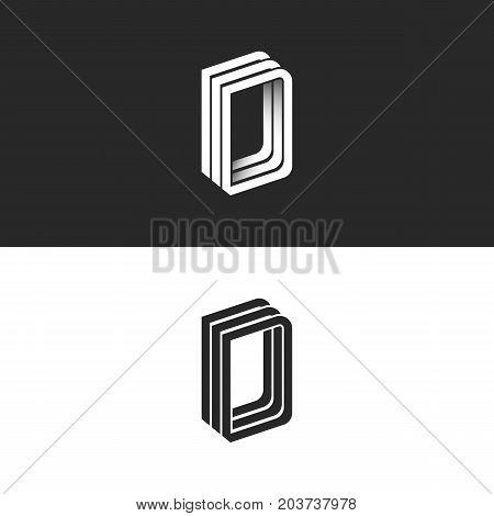 Letter D Logo Perspective Modern Typography Design Element, Monogram Isometric Shape Ddd Emblem 3D O