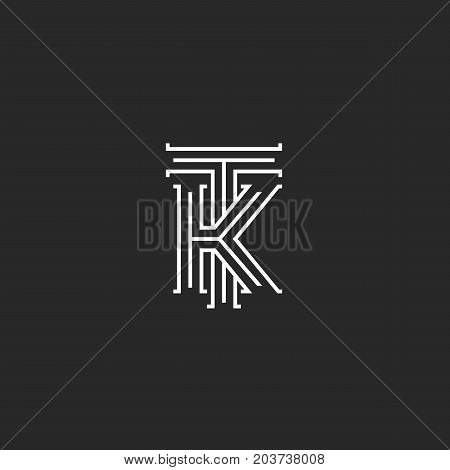Medieval Monogram Tk Logo, Combination Initials T And K Capital Letters Overlapping Thin Lines Style