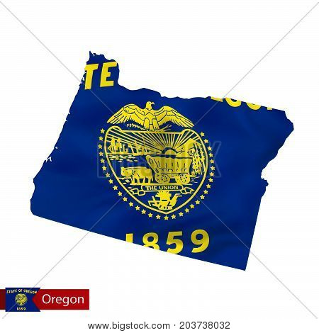 Oregon State Map With Waving Flag Of Us State.