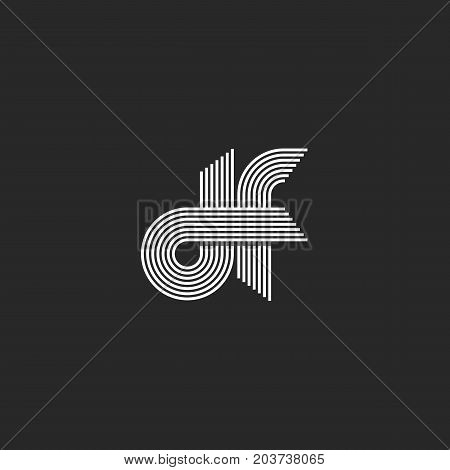 Logo Monogram Df Letters Lowercase, Combination Linked D And F Outline Initials Visual Name Fd Emble