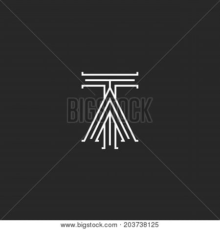 Medieval Monogram Ta Logo, Linked Initials T And A Capital Letters Intersection Thin Lines Stylish D