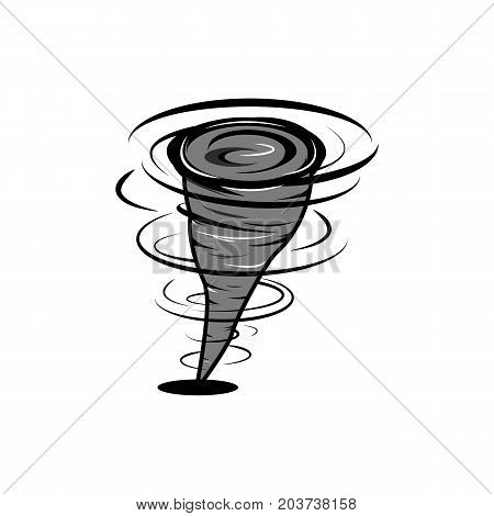 Hurricane in fast motion cartoon style whirlwind of air tornado cataclysm icon strong wind element for design illustration