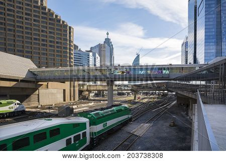 TORONTO,CANADA-AUGUST 2,2015:Toronto train station and view of the skyscrapers in downtown Toronto during a sunny day.