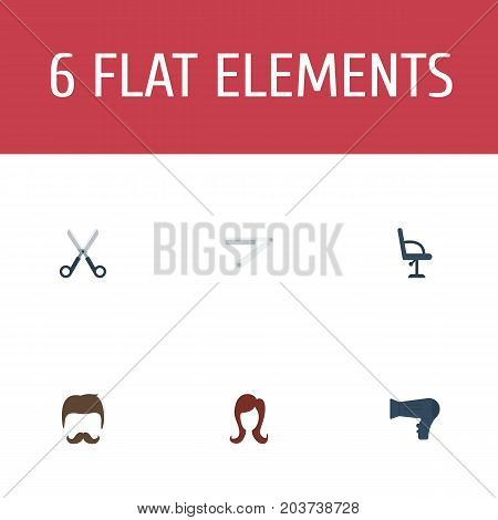Flat Icons Blow-Dryer, Blade, Shears And Other Vector Elements