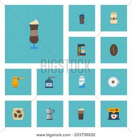 Flat Icons Package Latte, Latte, Arabica Bean And Other Vector Elements